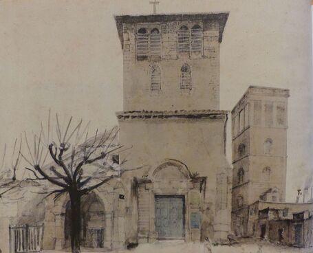 Aquarelle représentant une petites église.