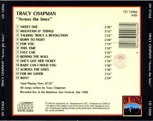 Live - Tracy Chapman - Montreux - 4 Juillet 1988