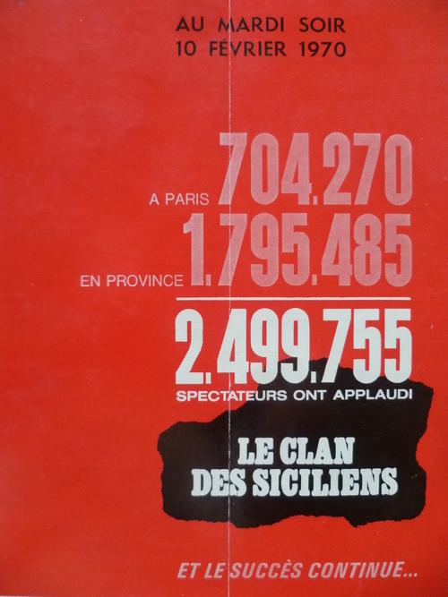 LE CLAN DES SICILIENS - ALAIN DELON - JEAN GABIN - LINO VENTURA BOX OFFICE 1969