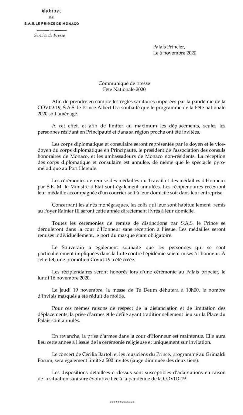 Fête Nationale monégasque 2020
