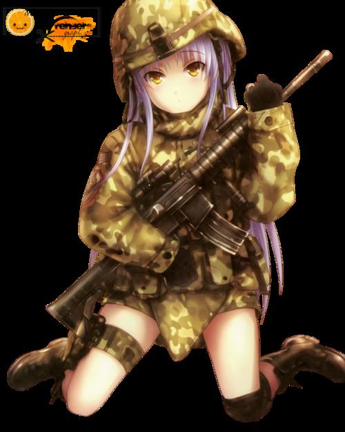 Render Filles/Femmes - Renders Fille Cheveux violet soldat arme