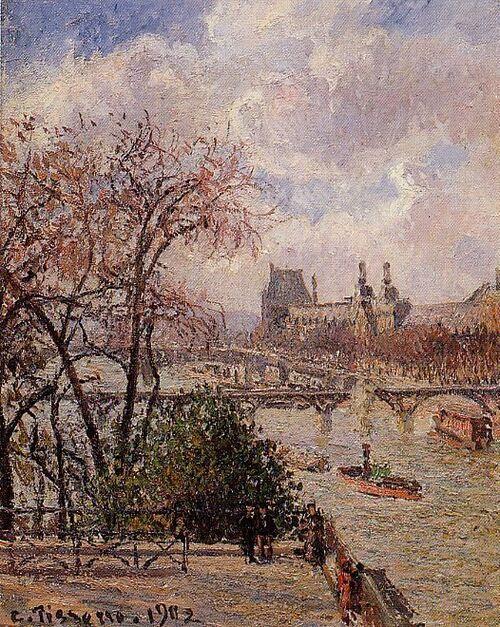La Seine vue du Pont-Neuf, au fond le Louvre Pissaro