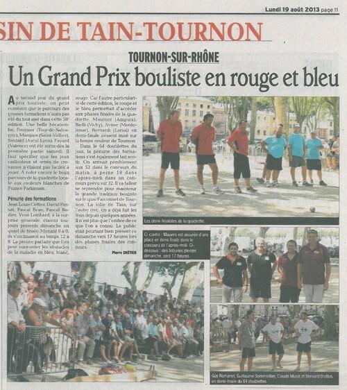 REVUE DE PRESSE GRAND PRIX DE TOURNON