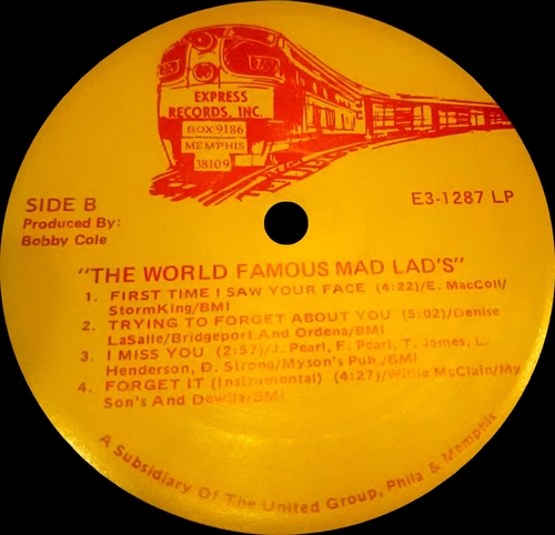"The World Famous Mad Lad's ‎: Album "" Music For Lovers Only "" Express Records E3-1287 [ US ]"