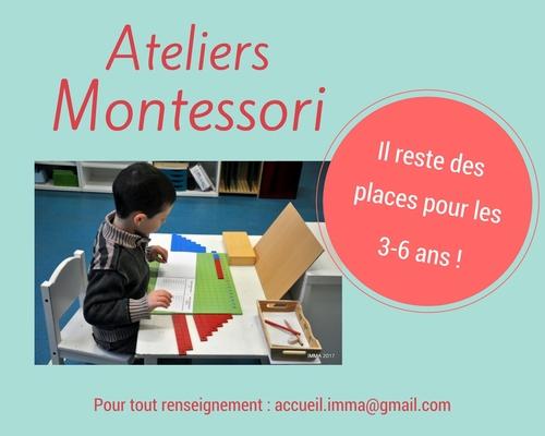 Il reste des places pour les ateliers Montessori 3-6 !