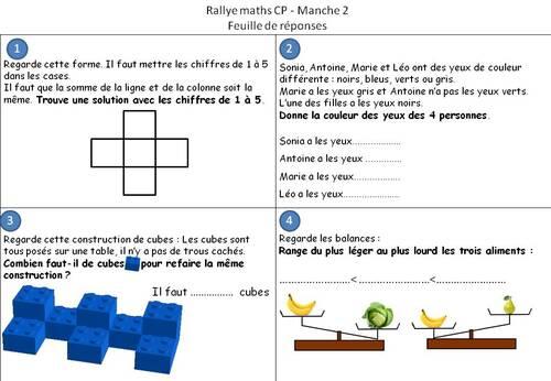 Rallye maths CP  : fiches réponses et fichiers son