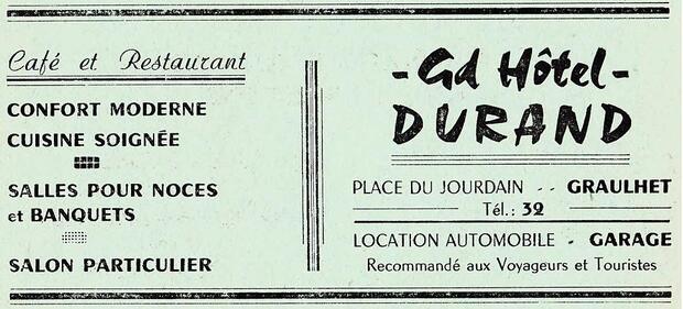 L'HOTEL DURAND - Les publicités