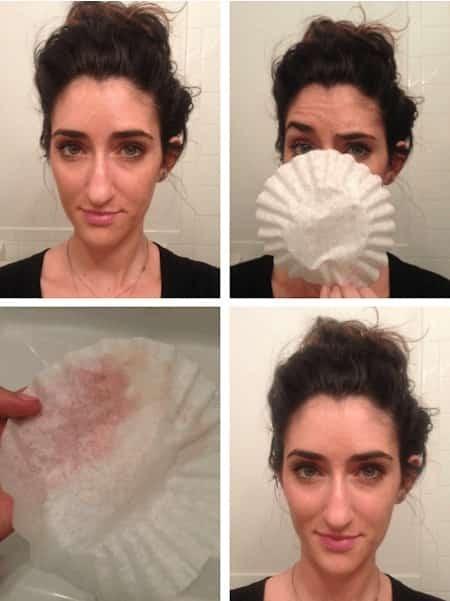enlever excès maquillage qui brille filtre café