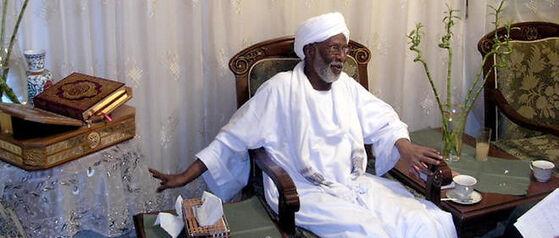 """Hassan al-Tourabi, à l'occasion d'une rencontre avec """"Le Point"""" à Khartoum."""