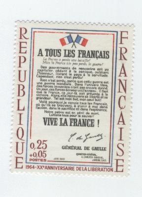 affiche 20ème anniversaire libération signée DeGaulle
