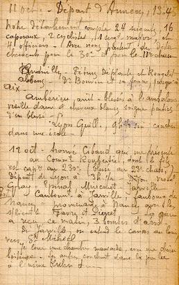 02* 1914: Octobre du 11 au 24 , Arrivée au 230 ème RI