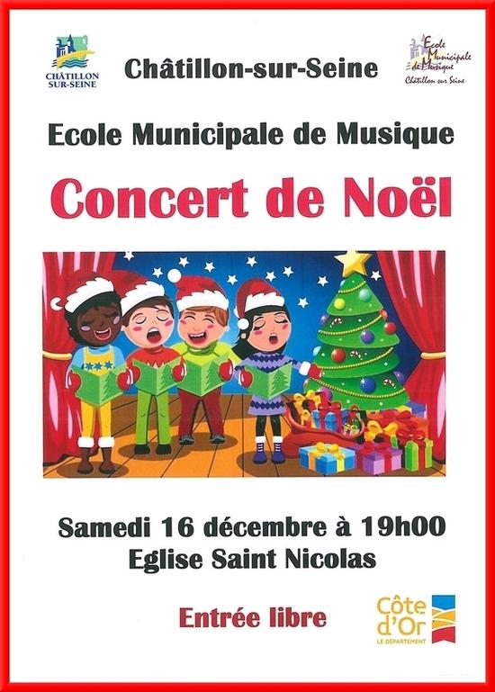 Un concert de l'Ecole Municipale de Musique de Châtillon sur Seine aura lieu  samedi 16 décembre dans l'église Saint-Nicolas