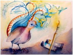 ;;; mais voilà l'oiseau lyre qui passe dans le ciel, l'enfant le voit;...