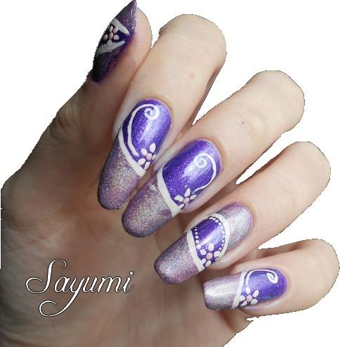 Nail Art French Holographique et Fleurs