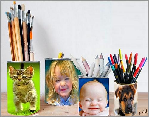 Des porte-crayons et photos