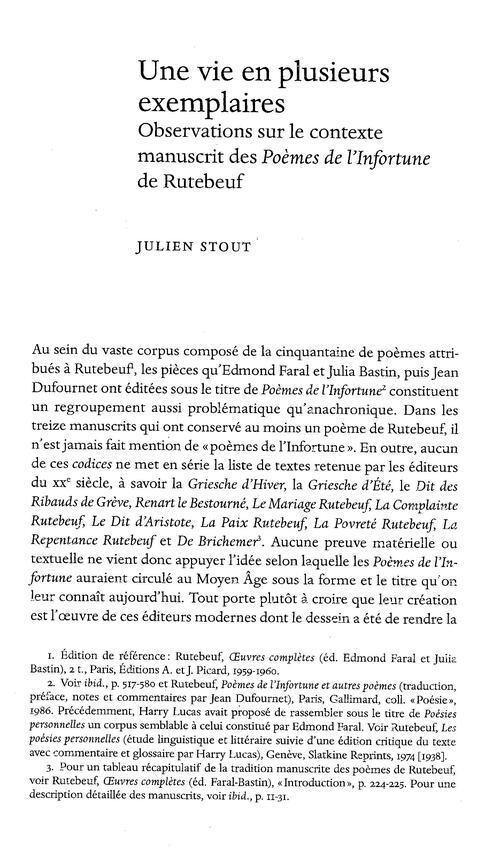 RUTEBEUF , les 2 premières pages des observations de Julien