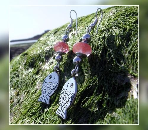 Parure de bijoux poissons couleur corail