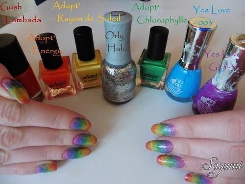 Nail Art Arc-en-ciel façon Jelly