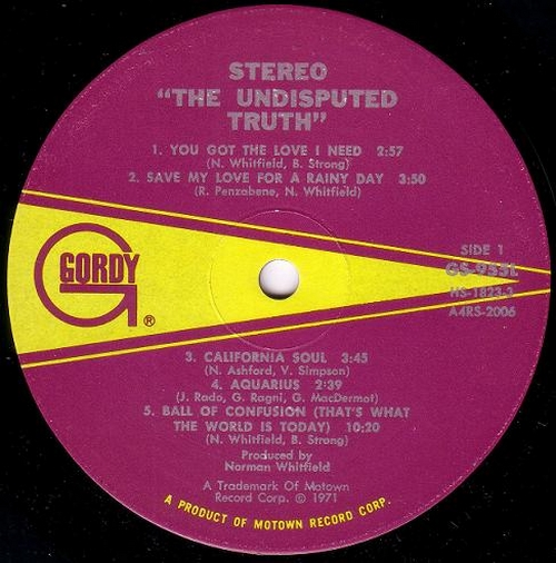 "1971 : Album "" The Undisputed Truth "" Gordy Records GS 955L [ US ]"