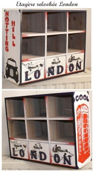 étagère relookée London city oska & co créations