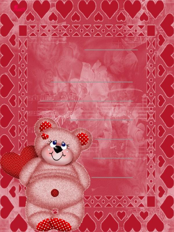 """papier à lettre """" ourson coeur """""""
