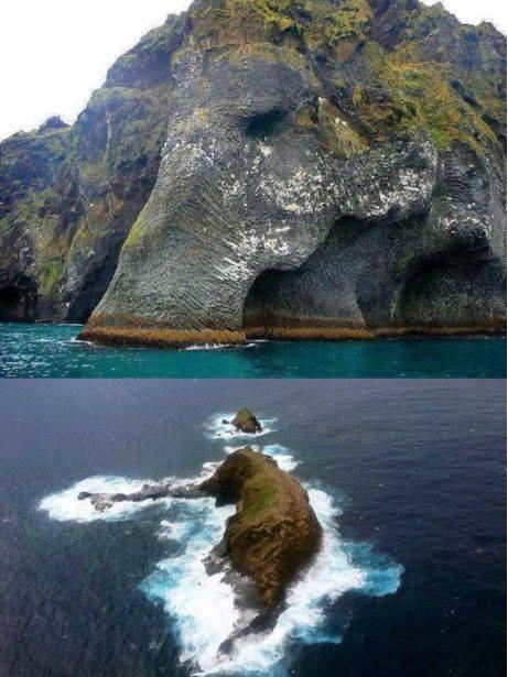 Le rocher éléphant à Heimaey en Islande