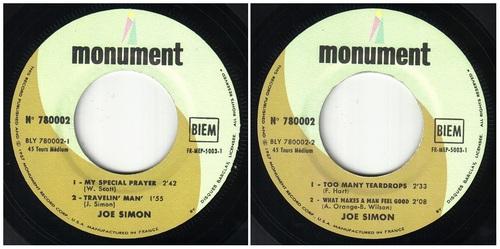 JOE SIMON EP FRANCAIS MONUMENT RECORDS