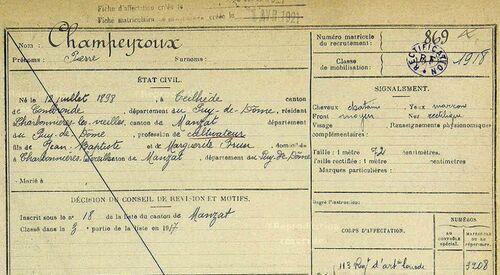 Pierre Champeyroux registre matricule