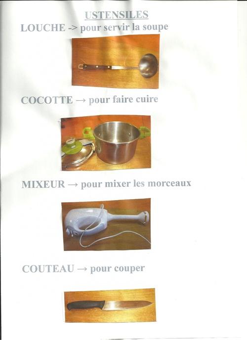 Les ustensiles pour la soupe