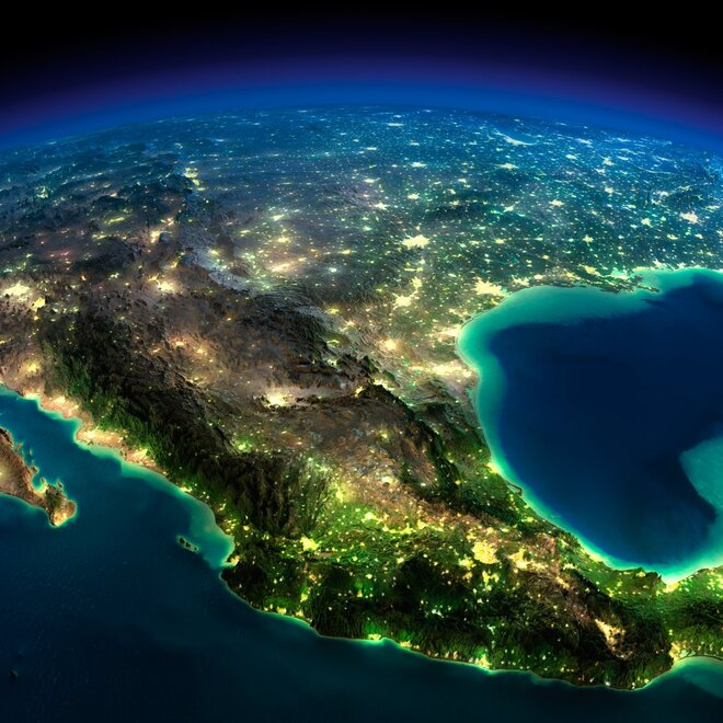 earth night photos mexico