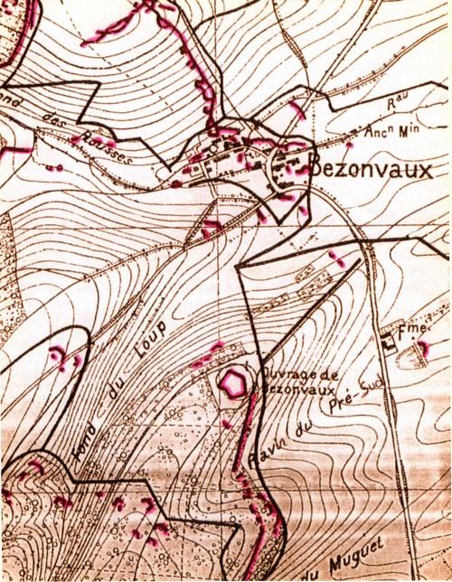 Bezonvaux dans la 2e position française (1915)