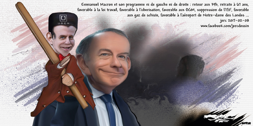 dessin de JERC mercredi 08 février 2017 caricature Emmanuel Macron Macron piège à cons www.facebook.com/jercdessin