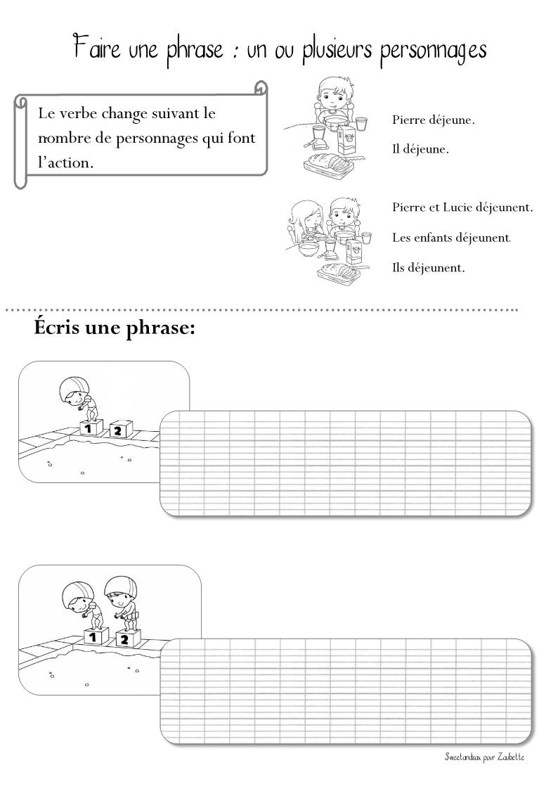 """Fiche d'expression écrite """"un ou plusieurs personnages"""" - CE1"""