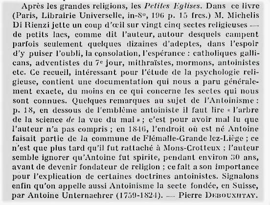 Pierre Debouxhtay corrige Michèle de Rienzi (Chroniques, p. 372, in Revue belge de Philologie et d'Histoire, Année 1931)