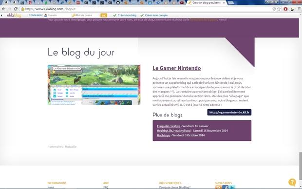 """Le site Le Gamer Nintendo mis a l'honneur par l'équipe d'EklaBlog dans leur section """"Le Blog du Jour"""" (10 Février 2015)"""