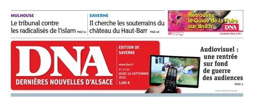 """Les DNA, Edition de Saverne, jeudi 10 septembre 2015,  """" Château du Haut-Barr """" """" Chasseur de Légende """". ( Baron Guénolé)"""