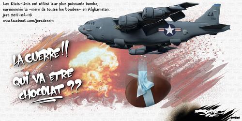 dessin de JERC mardi 18 avril 2017 caricature la mère des bombes non à la guerre, halte à la guerre www.facebook.com/jercdessin