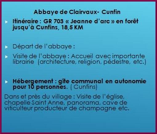 """Création d'un chemin de randonnée """"Saint Bernard de Clairvaux"""" qui conduira les randonneurs de l'abbaye de Clairvaux à l'abbaye de Fontenay"""