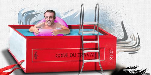 dessin de JERC et AKAKU du mardi 26 juin 2018 caricature La piscine à Manu Macron Peace in France : SPA drôle www.facebook.com/jercdessin @dessingraffjerc