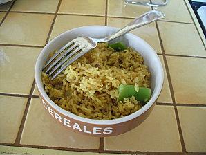 Riz au curry,haricot coco et champignon