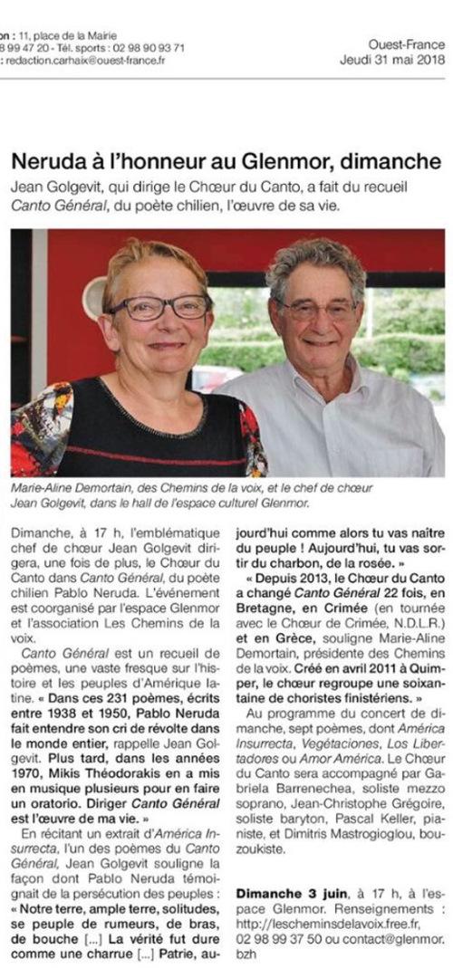 NERUDA à l'honneur dimanche 3 juin à Carhaix