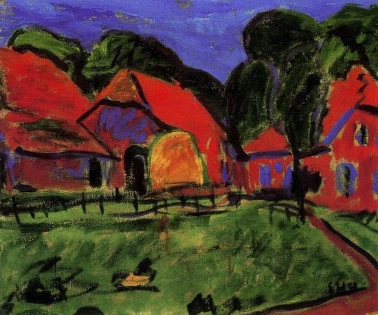 Erich Heckel, Maison rouge, 1908
