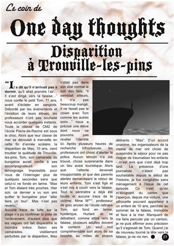 "One day thoughts : ""Disparition à Trouville-les-pins"" °PsJ 22°"