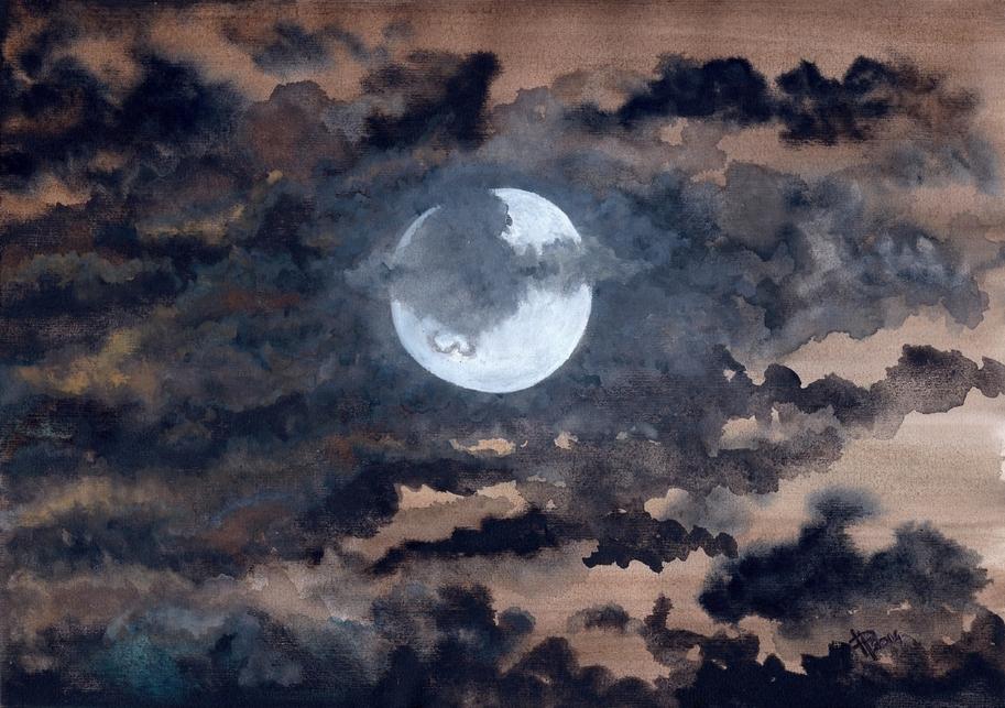 * COULEURS * Au Clair de la Lune - Aquarelle