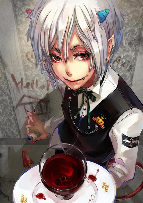 Image de anime, demon, and blood