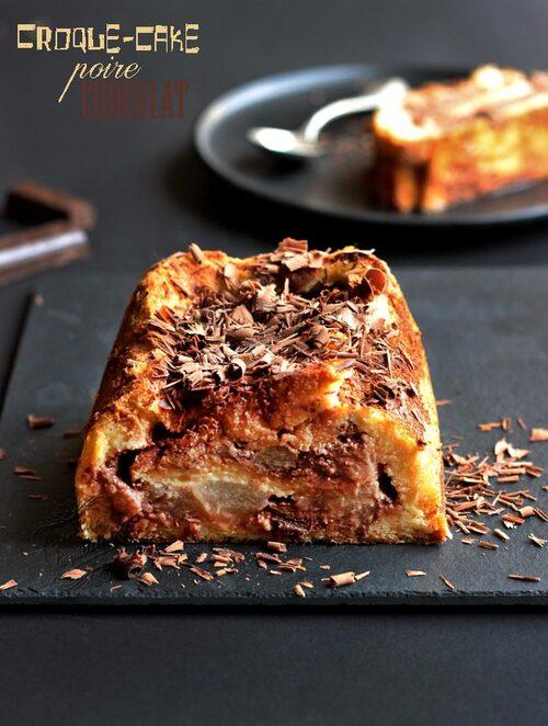 Croque-cake poire-chocolat