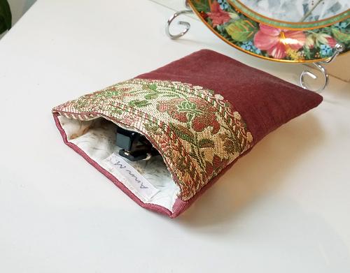 Etui à lunettes ou téléphone mobile 9,5 x 17,5 cm tissu de soie rose ancien brocart floral intérieur coton anglais