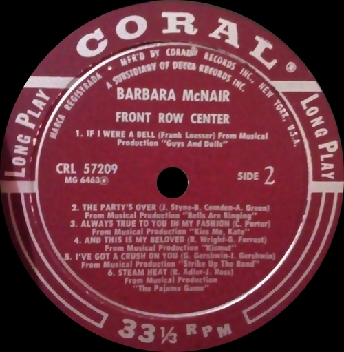 "Barbara McNair : Album "" Front Row Center "" Coral ‎Records CRL 57209 [ US ]"