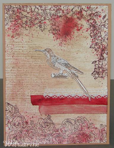 bistre naturel, rouge, mahony, Scrapplaisir, ruban, oiseau, fleur