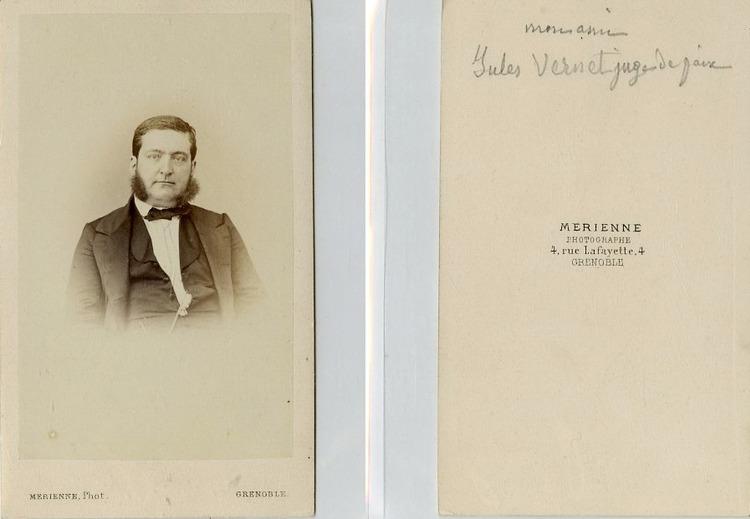 Jules Vernet, Juge de Paix (photographie tirée sur papier albuminé. Mérienne. Photographe. Grenoble).